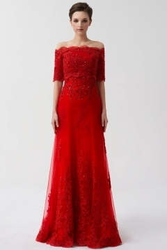 Trumpet Embroidery Detachable Tulle Half sleeves Long Red Wedding dress