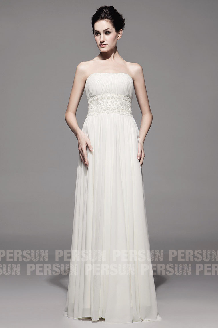 long white chiffon embroidery formal dress