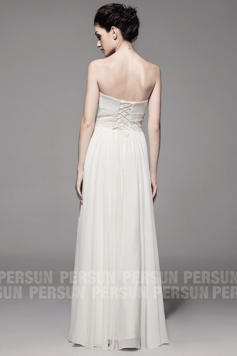 long white chiffon embroidery formal dress back design