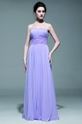 Long Evening Dress in Chiffon with Embroidery Around Waist