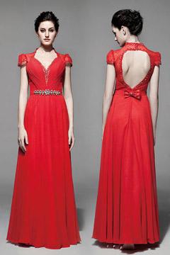 Robe rouge bustier plissée & dos découpé à  mancherons