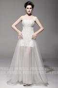 Elegantes A-Linie Bodenlanges Trägerloses Brautkleider aus Tüll