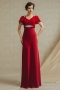 Sexy Red Column V Neck Floor Length Evening Dress With Sleeves