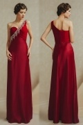 Modern Column One Shoulder Empire Beads Red Evening Dress