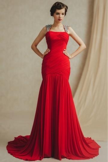 Meerjungfrau langes rotes tiefe Taille Abendkleider aus Chiffon Persun