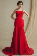 Chic Sheath Chiffon Square Red Dropped Evenings Dress