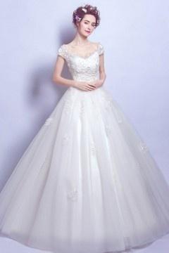 Robe de mariée 2017 rétro princesse avec mancherons