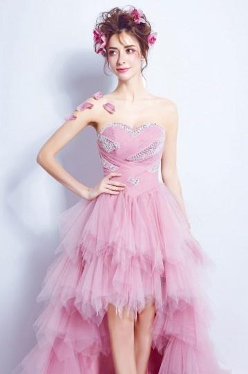 2018 rosa trägerlose vorne kurz hinten lang  Brautkleid Persun