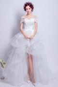 Bohème robe de mariée 2017 courte devant longue derrière épaule découverte