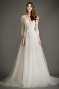 Bohemian Schick ivory V-Ausschnitt Brautkleid mit langen Ärmeln