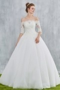 Vintage Off Schulter Ivory  Prinzessin Brautkleid mit 3/4 Ärmeln