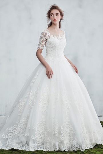 size 40 9c28e 125b6 Günstig Vintage weißes 2018 Prinzessin Brautkleid mit Spitze ...