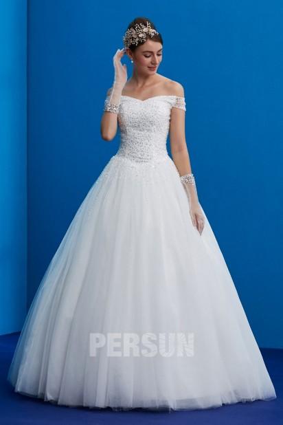 Princess wedding dress off shoulder embellished with sequins beads