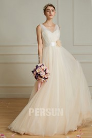 Simple Tulle Summer Beach Wedding Gowns Champagne V Neck With Flower Sash