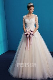 Princess wedding dress in applique lace and jewellery illusion neckline with sleeves