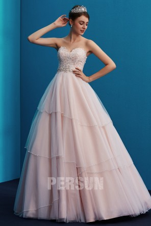 Pink strapless wedding dress princess sweetheart  with Lace Applique Beading trend 2019