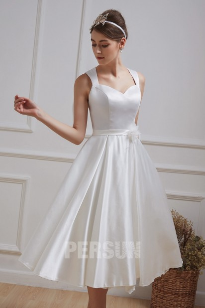 Midi Satin Wedding Dresses Vintage Queen Anne Neck Cut Out Back Sash With Flower