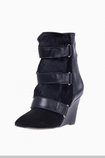 Suede Leather Calf Hair Wedge Boots