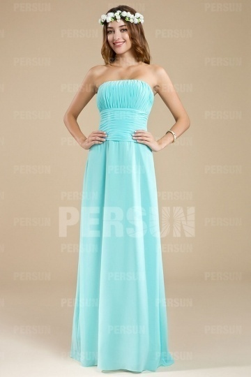 Dressesmall Simple Strapless Ruching Floor Length Formal Bridesmaid Dress