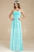 Simple Strapless Ruching Floor Length Formal Bridesmaid Dress