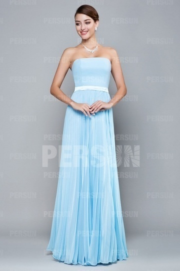 Elegantes blaues A-Linie Trägerloses Bodenlanges Brautjungfernkleider Persun