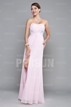Sexy Side Slit Strapless Beading Pink Long Formal Dress