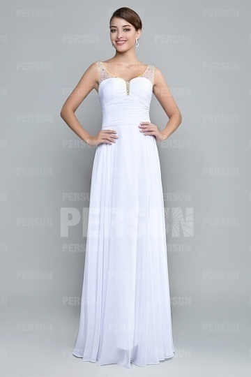 Dressesmall Gorgeous Beadings Straps White Chiffon Long Formal Dress