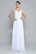 Gorgeous Beadings Straps White Chiffon Long Formal Dress