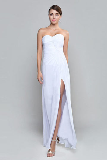 Dressesmall Sexy Side Slit Strapless White Ruching Chiffon Formal Bridesmaid Dress