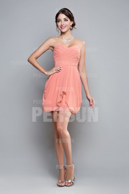 Dressesmall Modern Ruffles Backless Short Pink Formal Bridesmaid Dress