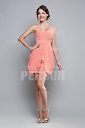 Cute Coral Pink Bridesmaid Dress Above knee with ruched bodice & side draping skirt