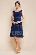 Short Dark Blue Ruching Chiffon Formal Bridesmaid Dress