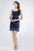 Chic Short Straps Taffeta Ruching Formal Bridesmaid Dress