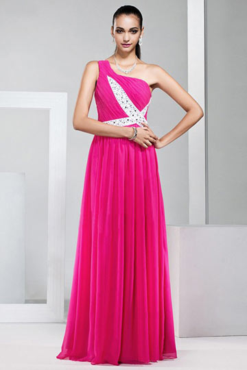 Dressesmall Modern One Shoulder Beading Red Floor Length Formal Dress