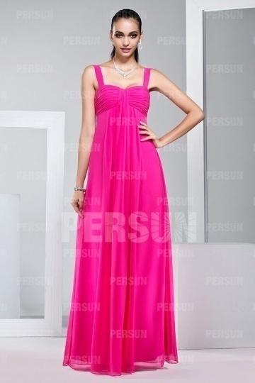 Chic A-Linie Bodenlanges Chiffon pink Abendkleid aus Chiffon Persun