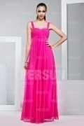 Chic Pink Straps Floor Length Chiffon Formal Bridesmaid Dress