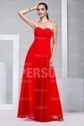 Sexy Strapless Ruching Chiffon Red Formal Bridesmaid Dress
