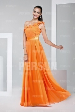 Beautiful One Shoulder Flower Ruffles Chiffon Formal Bridesmaid Dress