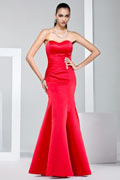 Sheath Mermaid Strapless Floor Length Satin Red Evening Dress UK