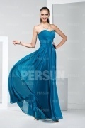 Chic Strapless Ruffles Blue Chiffon Formal Bridesmaid Dress