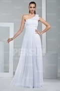 Modern One Shoulder White Ruffles Floor Length Formal Bridesmaid Dress