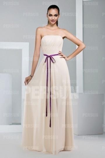 Simple Strapless Floor Length Chiffon Bridesmaid Dress