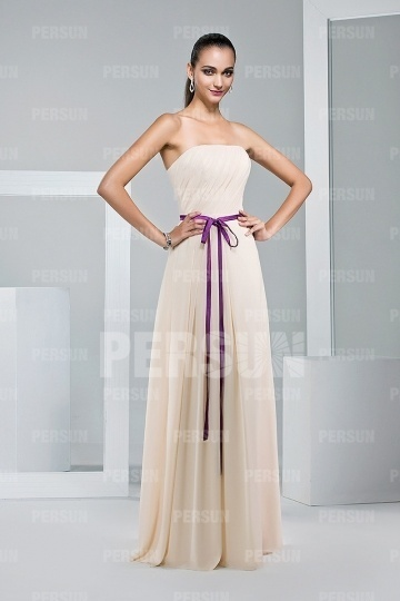 Meringue Beige Bridesmaid gown with color block sash