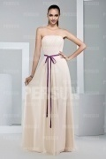 Simple Strapless Floor Length Chiffon Formal Bridesmaid Dress