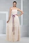 Simple robe demoiselle d'honneur à ceinture parme