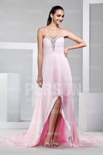 Dressesmall Gorgeous Beadings Strapless Pink Sweep Train Long Formal Dress