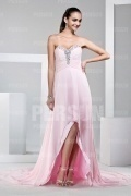 Gorgeous Beadings Strapless Pink Sweep Train Long Formal Dress