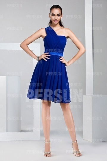 Dressesmall Unique One Shoulder Short Chiffon Blue Formal Bridesmaid Dress