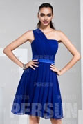 Unique One Shoulder Short Chiffon Blue Formal Bridesmaid Dress