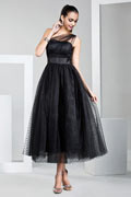 Tea Length One Shoulder Polka dot Tulle Black Prom Dress